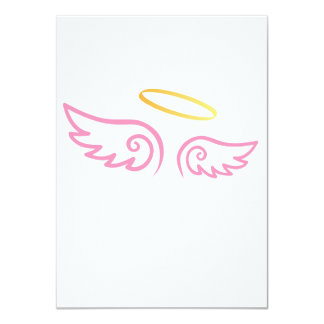 """Alas rosadas del ángel con halo invitación 4.5"""" x 6.25"""""""