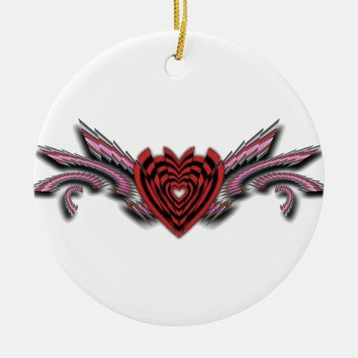 Alas rotas de los corazones quebrados adorno navideño redondo de cerámica
