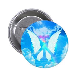 Alas y paz del ángel pin redondo 5 cm