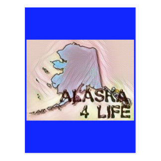 """Alaska 4 Life"" State Map Pride Design Postcard"