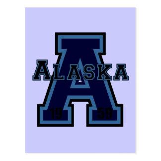 Alaska 'A' Blue Postcard