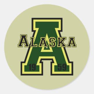 Alaska 'A' Green Round Stickers