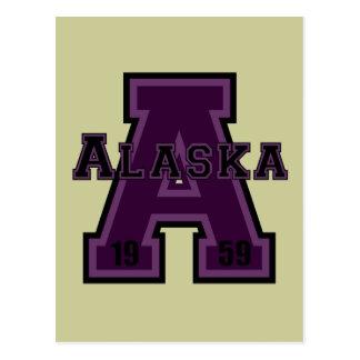 Alaska 'A' Purple Postcard