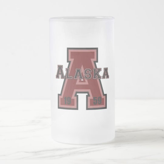 Alaska 'A' Red Frosted Glass Beer Mug