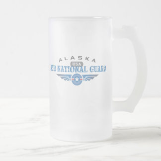 Alaska Air National Guard Frosted Glass Beer Mug