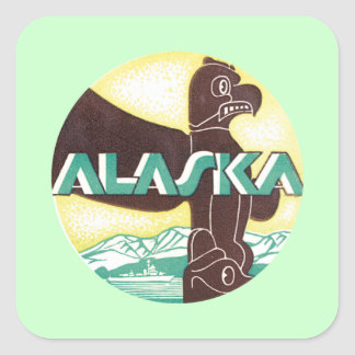 Alaska Ak Bird Square Sticker