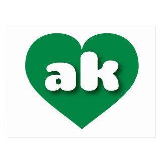 Alaska ak green heart post card