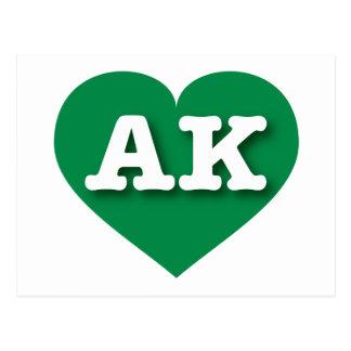 Alaska AK green heart Post Cards