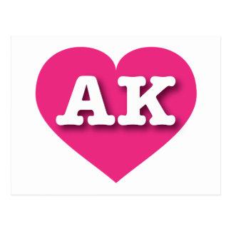 Alaska AK hot pink heart Postcard