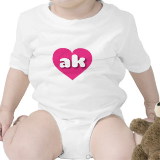 Alaska ak hot pink heart baby bodysuit
