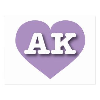 Alaska AK lavender heart Postcards