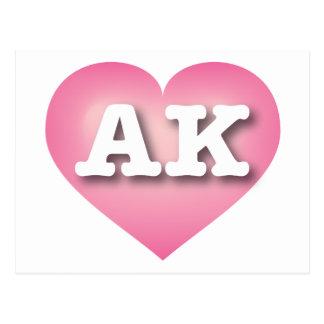 Alaska AK pink fade heart Postcards
