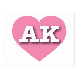 Alaska AK pink heart Postcard
