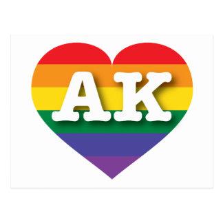 Alaska AK rainbow pride heart Postcard