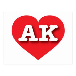 Alaska AK red heart Post Cards