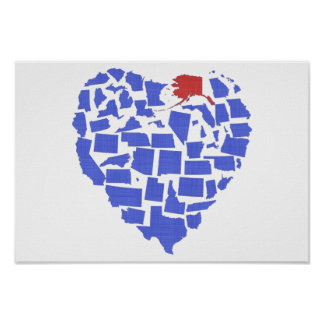 Alaska American States Heart Mosaic Blue Poster