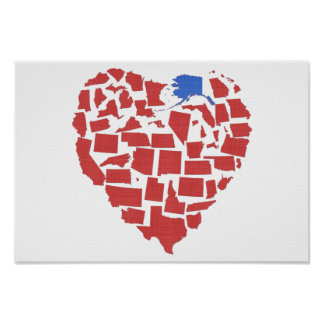 Alaska American States Heart Mosaic Red Poster