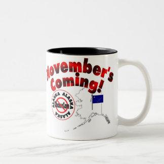 Alaska Anti ObamaCare – November's Coming! Two-Tone Coffee Mug