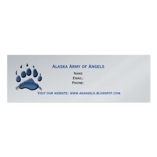 Alaska army of angels mini card blue paw business card for Mini business cards template