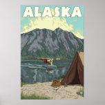 Alaska - avión y pesca de Bush Póster