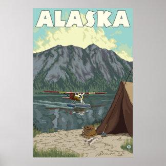 Alaska - avión y pesca de Bush Poster