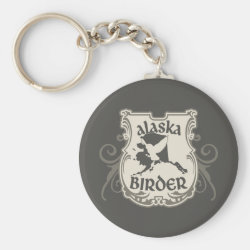 Basic Button Keychain with Alaska Birder design