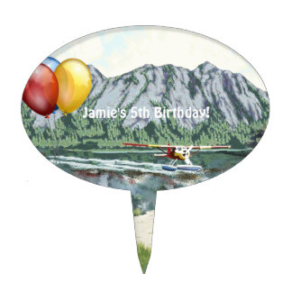Alaska Bush Plane And Fishing Travel Cake Topper
