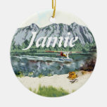 Alaska Bush Plane And Fishing Travel Double-Sided Ceramic Round Christmas Ornament