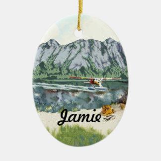 Alaska Bush Plane And Fishing Travel Christmas Ornaments