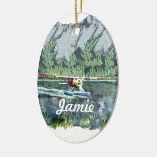 Alaska Bush Plane And Fishing Travel Christmas Tree Ornament