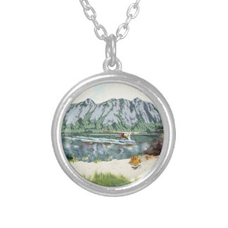 Alaska Bush Plane And Fishing Travel Silver Plated Necklace