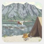Alaska Bush Plane And Fishing Travel Square Stickers