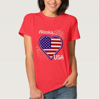 Alaska camiseta del rojo de la bandera del corazón remera