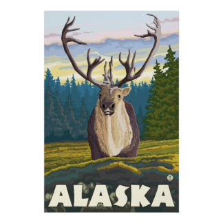 Alaska - Caribou in the Wild Poster