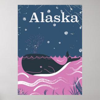 Alaska Cartoon vintage whale travel poster
