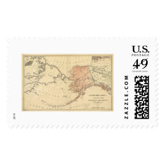 Alaska Ceded By Russia Map 1867 Postage