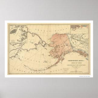 Alaska cedió por el mapa 1867 de Rusia Póster
