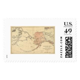 Alaska cedió por el mapa 1867 de Rusia Sellos
