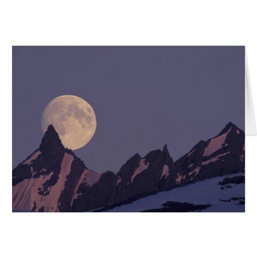 Alaska, Chugach Mountains Full moon rises Greeting Card