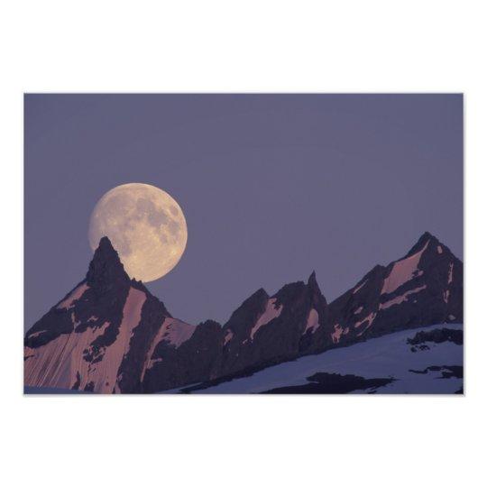 Alaska, Chugach Mountains Full moon rises Photo Print