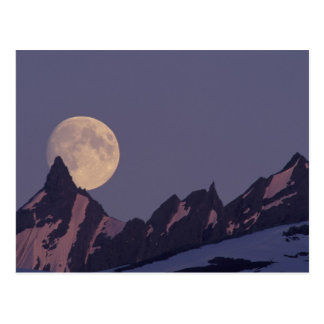 Alaska, Chugach Mountains Full moon rises Postcard