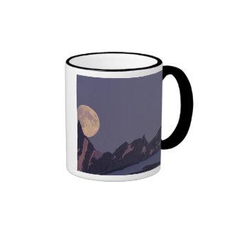 Alaska, Chugach Mountains Full moon rises Ringer Mug