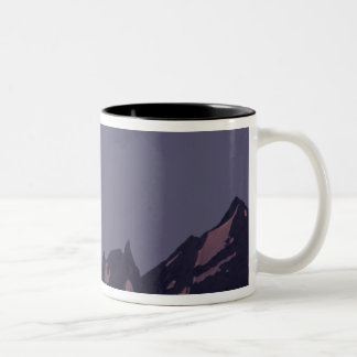 Alaska, Chugach Mountains Full moon rises Two-Tone Coffee Mug