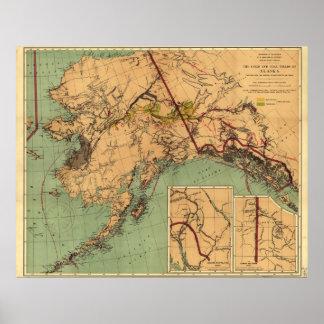 Alaska Coal and Gold Map Poster