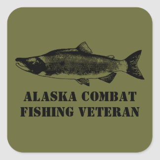Alaska Combat Fishing Veteran Square Sticker