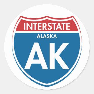 Alaska de un estado a otro AK Pegatina Redonda