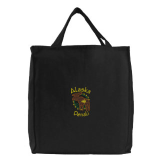 Alaska Denali Moose Embroidered Bag