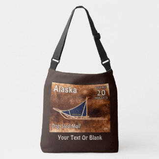 Alaska Dog Sled Mail Postage Stamp Crossbody Bag