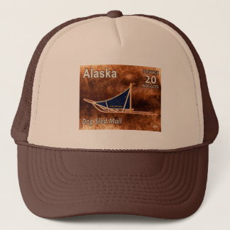 Alaska Dog Sled Mail Postage Stamp Trucker Hat