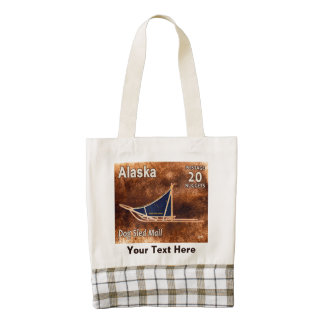 Alaska Dog Sled Mail Postage Stamp Zazzle HEART Tote Bag